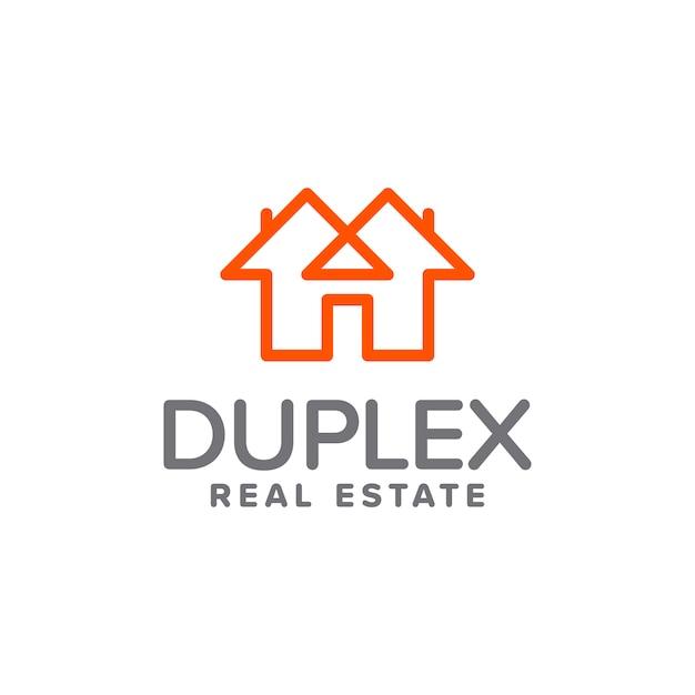 Duplex immobilien logo Premium Vektoren