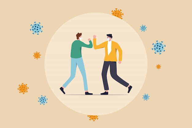 Durch soziale distanzierung halten die menschen abstand und vermeiden körperlichen kontakt, händedruck oder handberührung, um sich vor dem covid-19-coronavirus-ausbreitungskonzept zu schützen. menschen stoßen mit viruspathogenen an arm oder ellbogen Premium Vektoren