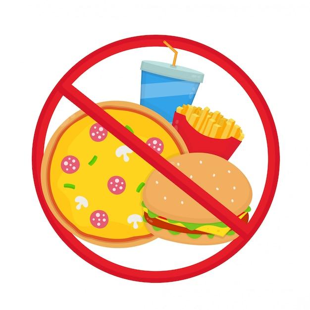 Durchgestrichenes junk-food. pizza, burger, pommes, limo. Premium Vektoren