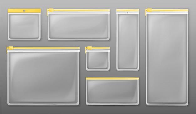 Durchsichtige reißverschlusstaschen aus kunststoff mit gelbem reißverschluss Kostenlosen Vektoren