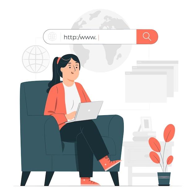 Durchsuchen der online-konzeptillustration Kostenlosen Vektoren