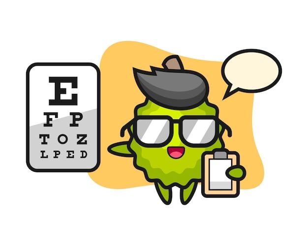 Durian cartoon als augenheilkunde Premium Vektoren