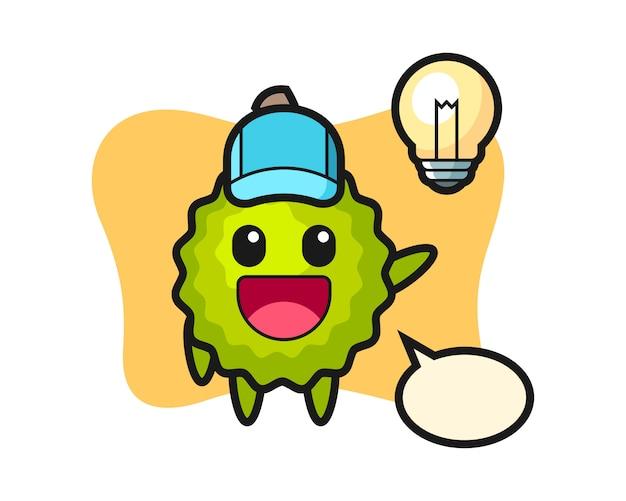 Durian cartoon auf die idee kommen Premium Vektoren