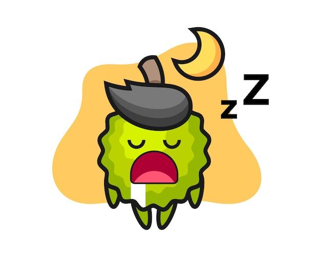 Durian cartoon, der nachts schläft Premium Vektoren