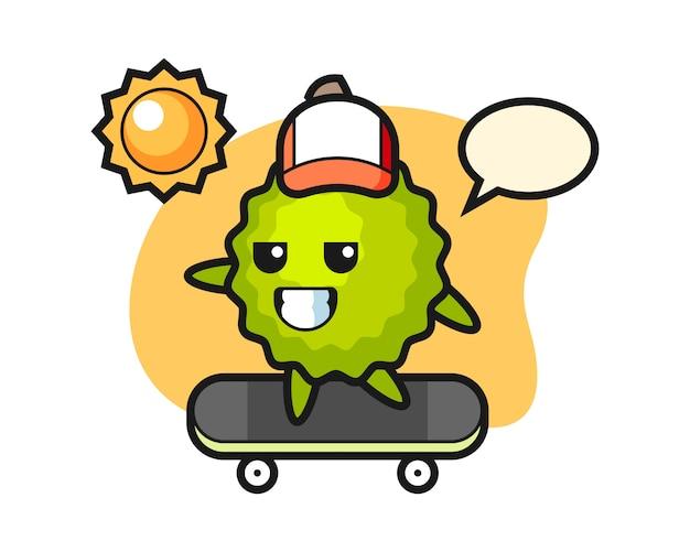 Durian cartoon fahren ein skateboard Premium Vektoren
