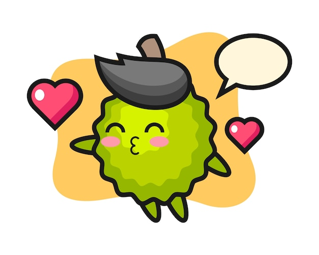 Durian cartoon mit kussgeste Premium Vektoren