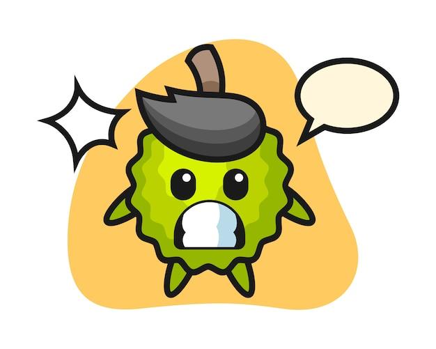 Durian cartoon mit schockierter geste Premium Vektoren