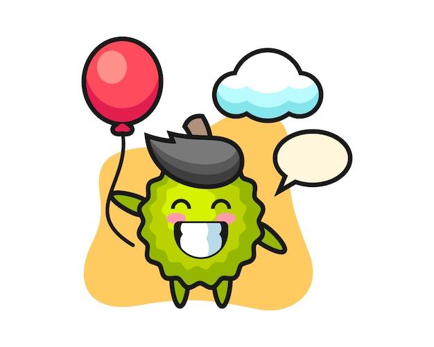 Durian cartoon spielt ballon Premium Vektoren