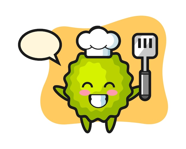 Durian chef cartoon kocht Premium Vektoren