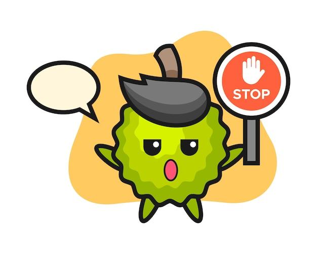 Durian-karikatur, die ein stoppschild hält Premium Vektoren