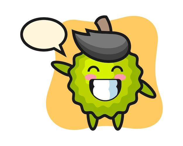 Durian-karikatur, die wellenhandgeste tut Premium Vektoren
