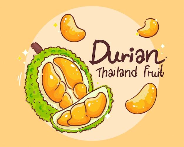 Durian set thailändische frucht hand zeichnen kunst illustration premium vektor Premium Vektoren