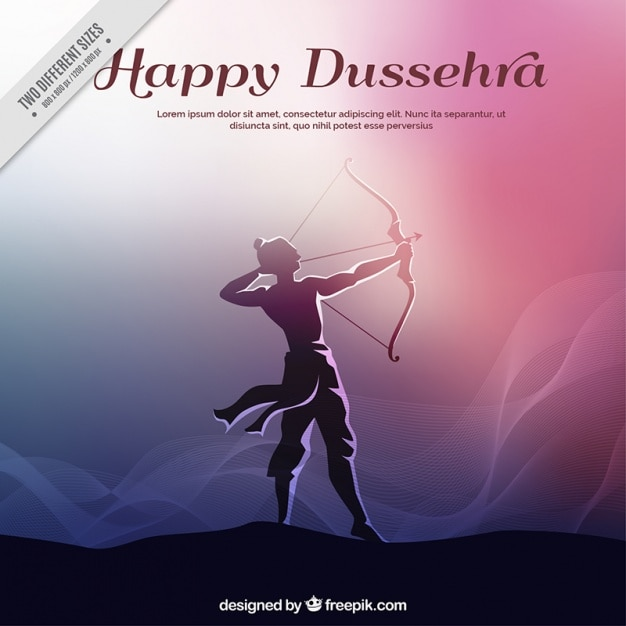 Dussehra hintergrund mit rama silhouette und bogen Kostenlosen Vektoren
