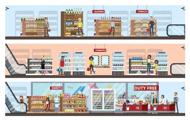 Duty-free-innenraum im flughafengebäude. leute, die billige produkte kaufen: alkohol, parfüm und schokolade. steuerfrei. illustration Premium Vektoren