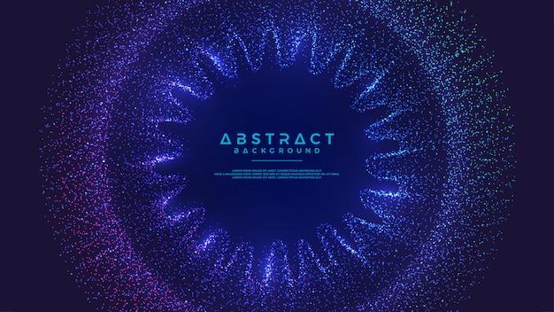 Dynamischer abstrakter flüssiger flusspartikelhintergrund. Premium Vektoren