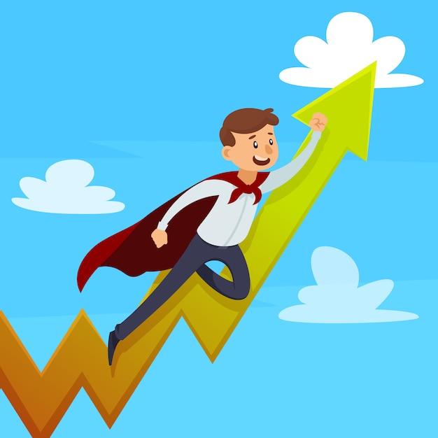 Dynamisches karriereentwurfskonzept mit supermann im mantel nahe wachsendem pfeil auf hintergrundvektorillustration des blauen himmels Kostenlosen Vektoren
