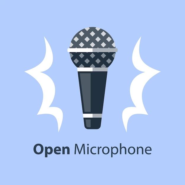 Dynamisches mikrofon, open mic comedy stand up, performance event Premium Vektoren