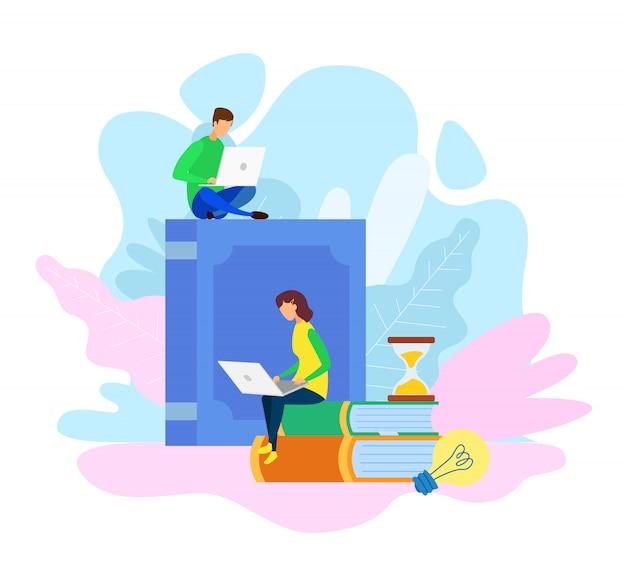 E-bibliotheks-archiv, e-learning-vektor-illustration Premium Vektoren
