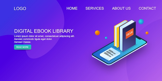 E-book-bibliothek Premium Vektoren