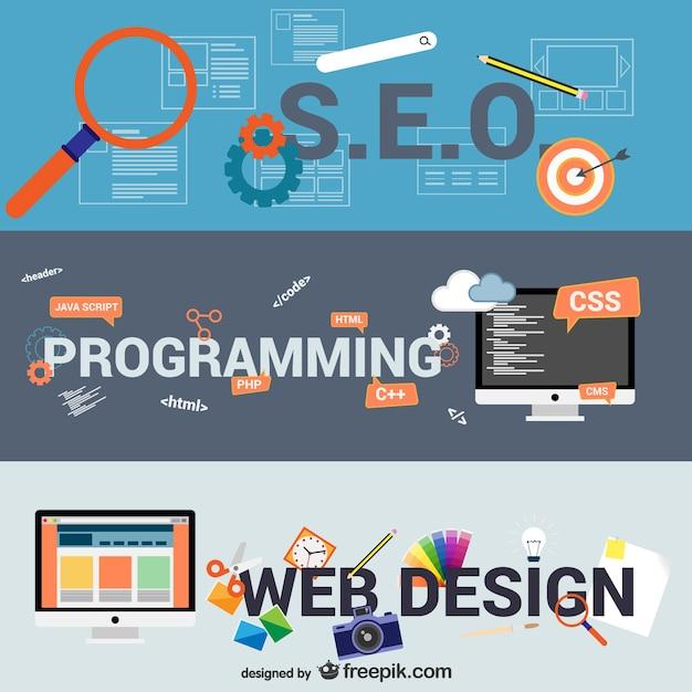 E-business und web-design-elemente Kostenlosen Vektoren