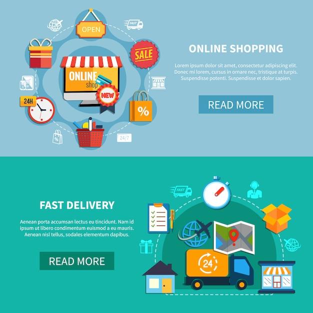 E-commerce-banner-set Kostenlosen Vektoren