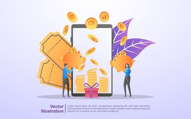 E-commerce business profit, geld verdienen, online-shop, prämienprogramm, gutscheine und rabatte erhalten Premium Vektoren