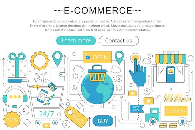 E-commerce-flache linie konzept Premium Vektoren