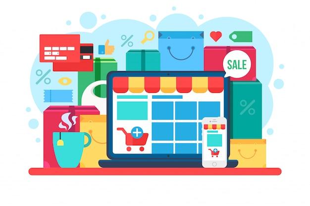 E-commerce flache vektor-illustration Premium Vektoren