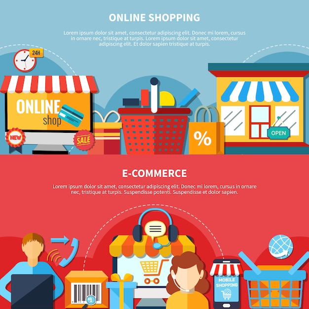 E-commerce-flyer-set Kostenlosen Vektoren