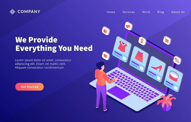 E-commerce-geschäftsförderung mit verschiedenen produktservices für website-vorlagen oder landing-homepage Premium Vektoren