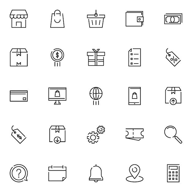 E-commerce-icon-pack mit umriss-icon-stil Premium Vektoren
