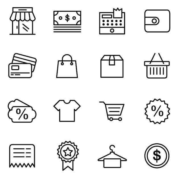 E-commerce-icon-pack, umriss-icon-stil Premium Vektoren