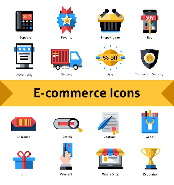 E-commerce-icons set Kostenlosen Vektoren