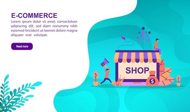 E-commerce-illustrationskonzept mit charakter. zielseitenvorlage Premium Vektoren