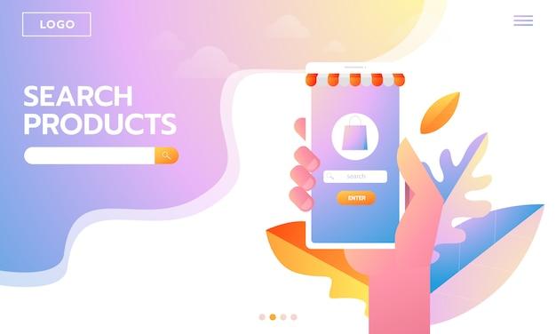 E-commerce-käufer. internet items. junge frau der landingpage, die online kauft. vektorzeichnungen. menschen interagieren Premium Vektoren