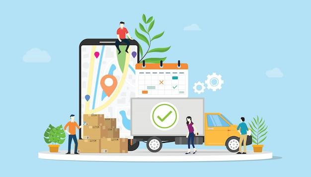 E-commerce-konzept für online-zustellungswaren mit teamleuten Premium Vektoren
