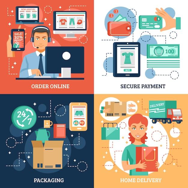 E-commerce-konzept icons set Kostenlosen Vektoren