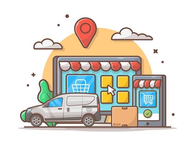 E-commerce-lieferungs-ikonen-illustration. auto und onlineshop, geschäfts- und technologie-ikonen-weiß lokalisiert Premium Vektoren