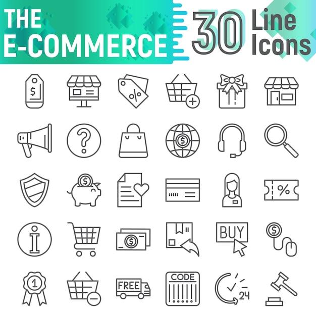 E-commerce line icon set, einkaufssymbolsammlung, Premium Vektoren