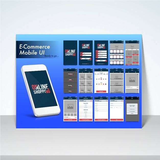 E commerce mobile anwendung download der premium vektor for E commerce mobili