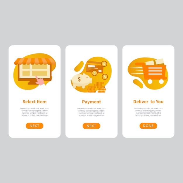 E-commerce mobile apps design-vorlage Premium Vektoren