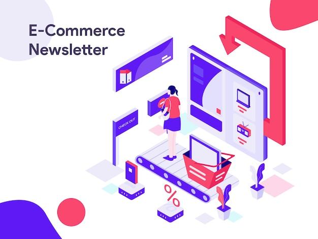 E-commerce-newsletter isometrische illustration Premium Vektoren