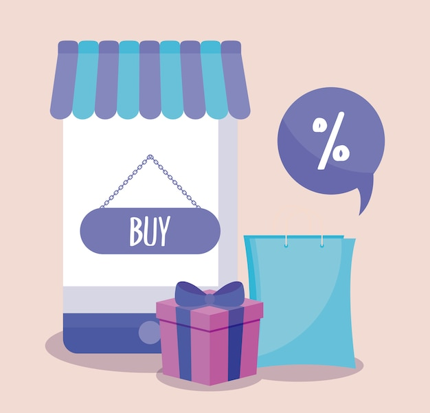 E-commerce online mit smartphone und symbolen Premium Vektoren