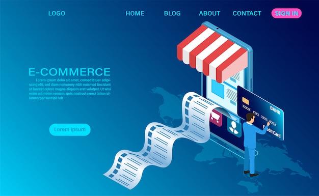 E-commerce-online-shopping mit dem handy. isometrische 3d-vorlage Premium Vektoren