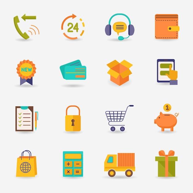 E-commerce-shopping-ikonen flachen satz von lieferung lkw kreditkarte sparschwein isoliert vektor-illustration Kostenlosen Vektoren