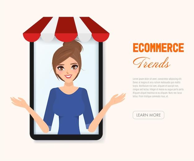 E-commerce trends menschen online einkaufen. Premium Vektoren