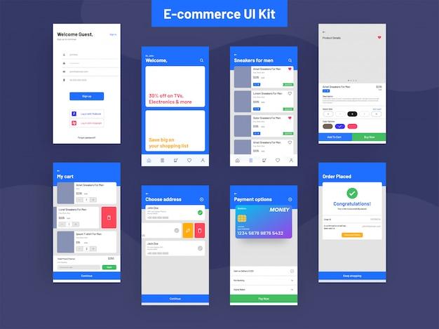 E-commerce-ui-kit für die app-entwicklung Premium Vektoren