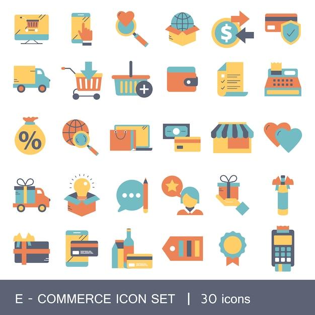 E-commerce und shopping-icon-sammlung Premium Vektoren