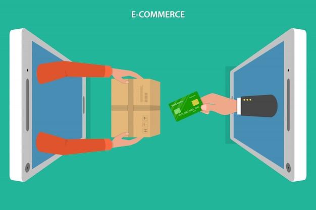 E-commerce-wohnung Premium Vektoren