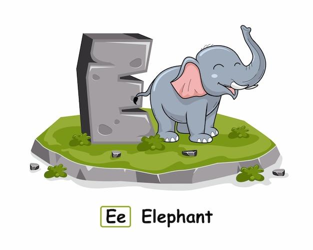 E für elefantentiere alphabet rock stone Premium Vektoren